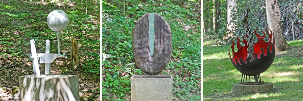 Three unique sculptures found at the Sculpture Trails Outdoor Museum.