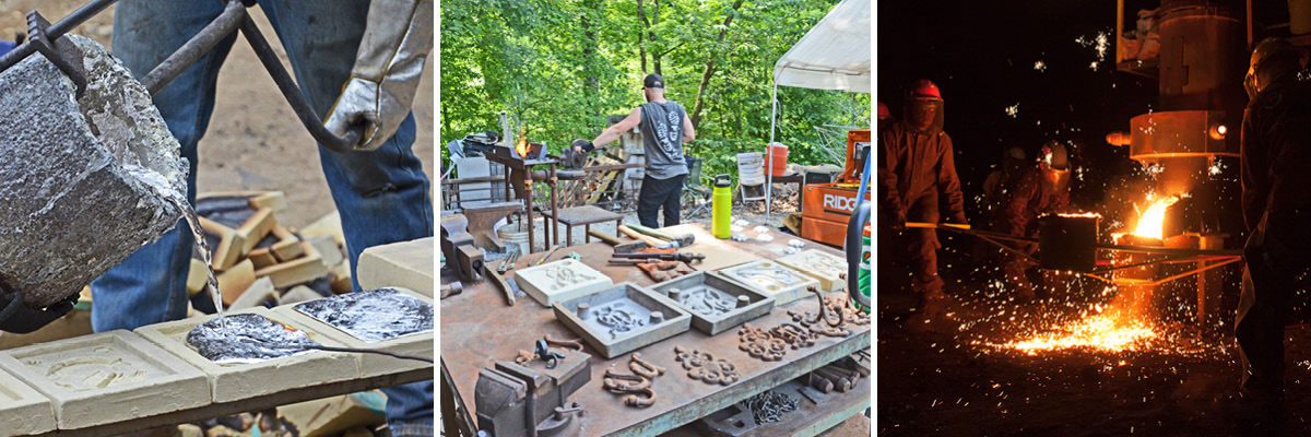 Photos depict artists pouring aluminum, another artist welding artwork, and three additional artists pouring molten hot aluminum at night with sparks flying.