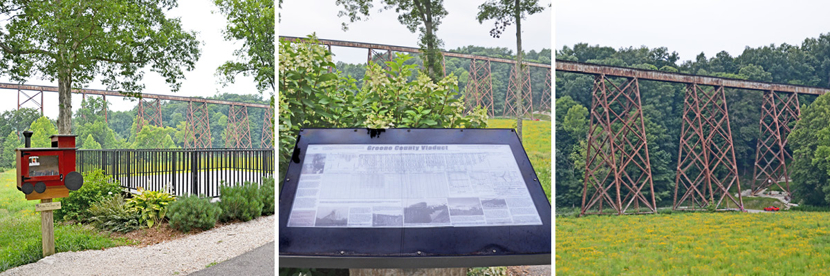Three photos displaying various views of the Tulip Trestle Observation Deck, Informational Sign, and The Viaduct.