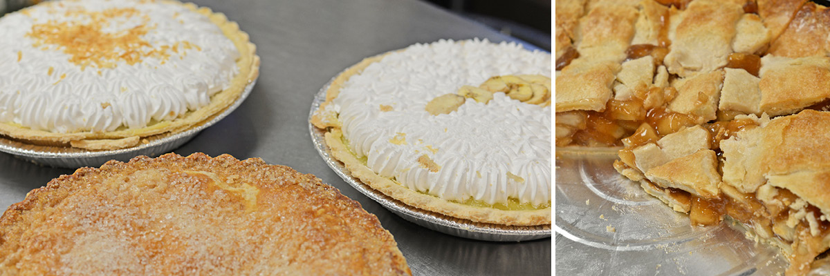 Multiple pies on a table, including a second photo of a closeup of an apple pie.