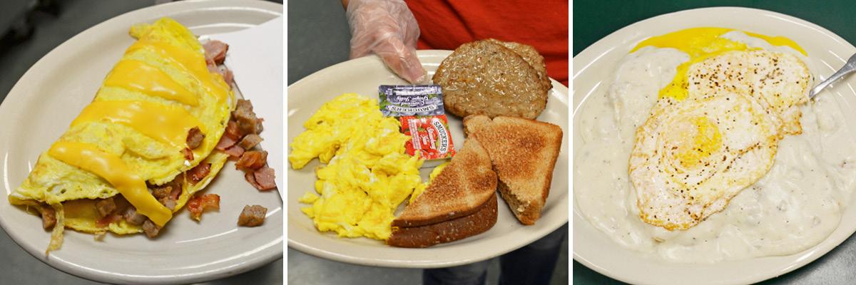 Three breakfast menu food options.