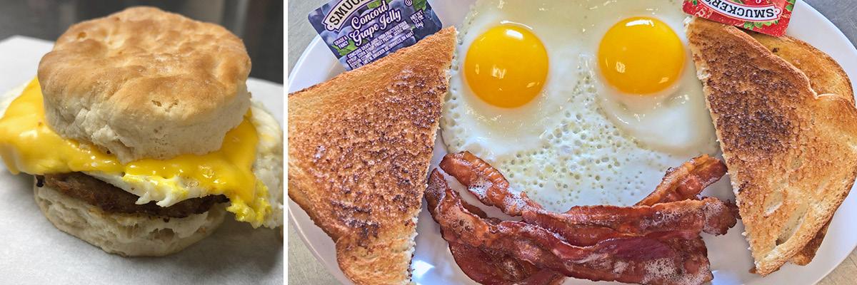 Two breakfast menu food options.