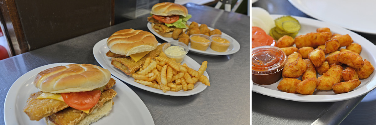 The popular fish sandwich goes great with french fries, fried mushrooms, or any other cold side dish from the deli.