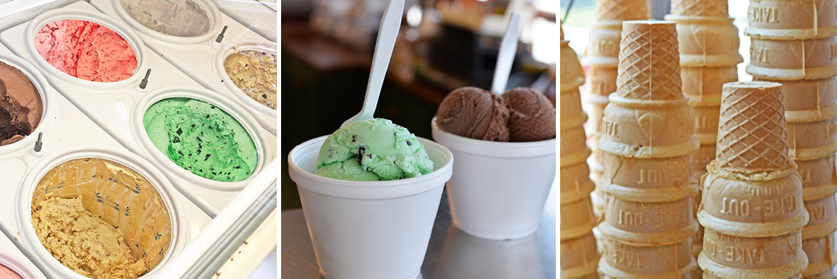 Hand-scooped ice cream case with different flavors and cones.